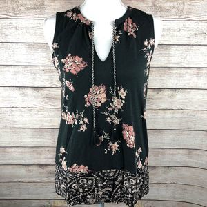 Lucky Brand Tassle Floral V-neck Top